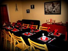 My LBD (Little Black Dress) Themed 21st Birthday Party! My mommy did it all just for me! PS... All plates (salad and dinner), napkins, & napkin rings ARE PAPER or can be thrown away!!! She got wine glasses and made red and black beaded charms for the bottoms and bought a couple other things to decor the table with and BAMM... A CUTE LBD RED AND ZEBRA WINE PARTY!!! SOOOOO fun and easy... <3Kelsi Wetzel