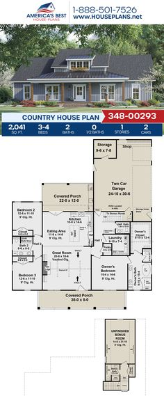 Fall in love with this Country home design, Plan 348-00293 offers 2,041 sq. ft., 3-4 bedrooms, 2 bathrooms, split bedrooms, a kitchen island, an open floor plan, and a bonus room. #countryhome #architecture #houseplans #housedesign #homedesign #homedesigns #architecturalplans #newconstruction #floorplans #dreamhome #dreamhouseplans #abhouseplans #besthouseplans #newhome #newhouse #homesweethome #buildingahome #buildahome #residentialplans #residentialhome