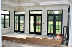 black windows and doors with white interior White Interior Doors, Black And White Interior, Interior Windows, Interior Office, Interior Shutters, Black French Doors, Black Doors, Bungalows, Exterior Doors