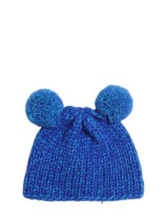 Tricot Wool Beanie Hat With Pompoms