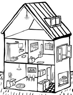 werkboekje thema huis (OB) - dank je Mirjam Swagerman! - je vindt het allemaal op Montessorinet Teach English To Kids, Teaching English, Free Coloring Pages, Coloring Books, Dream House Drawing, Dream English, Inclusive Education, Home Themes, French History