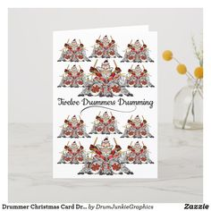 This awesome drumming holiday card features 12 drummer Santas on drum kits - what a great musician Christmas card! #drummerchristmas #snaredrum #drumsticks #drumjunkie