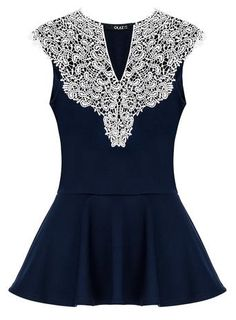 Quiz Navy Lace Neck Peplum Top