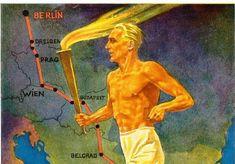 """Postkarte aus Anlass der Olympischen Sommerspiele in Berlin, 1936. Die Route des Staffellaufs verlief 3.075 Kilometer durch sieben Länder. In zahlreichen Städten fanden Volksfeste und """"Weihestunden"""" statt, deren immer gleicher Ablauf mit Reden, Hymnen, dem Hissen von Fahnen - selbstverständlich auch Hakenkreuzfahnen - und Glockengeläut die Menschen begeistern sollte."""