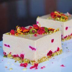 Raw and Vegan White Choc Raspberry + Pistachio Cheesecakes