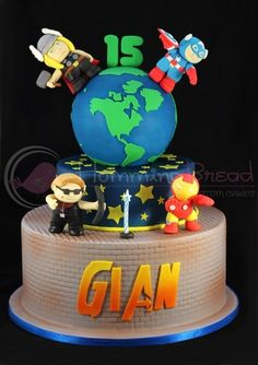 "Avengers cake - I like the idea of spelling out Noah's name and using the Avengers ""A"" in his name"