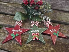 PERSONALISED CHRISTMAS STAR - hand-painted, wooden Xmas tree decoration/bauble…