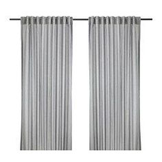 """IKEA GULSPORRE Curtains, 1 pair/$15 57x98"""". Could do 3 pairs for 4 windows, with one curtain centered between each window pair, and one curtain on the outside of each window. Hard to see, but it's a cute gray and white ticking-type stripe. Hidden tabs on the back of the curtain. Curtain rod 11-11.5 ft (132-138"""")"""