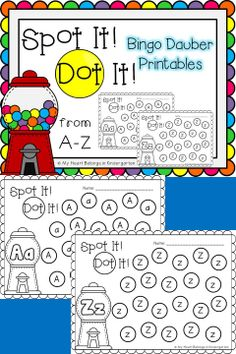 Alphabet Bingo Dauber Printables! Engaging, fun, hands-on alphabet activities! Just print and add bingo daubers. It's that easy! This packet includes one page for each alphabet letter. Perfect for small group time, centers, morning work, fast finishers or RTI.