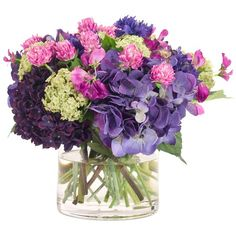 I pinned this Purple and Green Hydrangea in Glass Cylinder from the Natural Decorations event at Joss and Main!