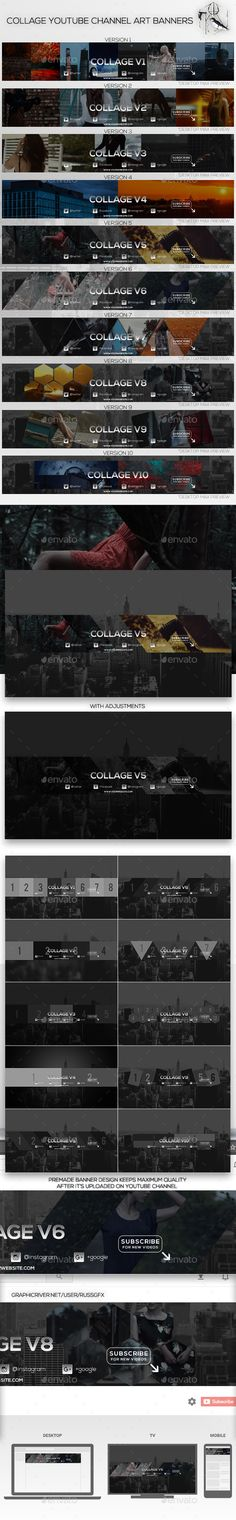 10 Collage Youtube Channel Art Banners Template PSD