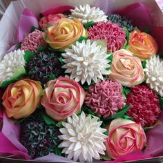 Giant realistic floral cupcake bouquet from The Strand Bakery in Cornwall, UK.