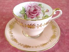 GORGEOUS AYNSLEY TEA CUP AND SAUCER SET BONE CHINA ENGLAND PEACHY PINK