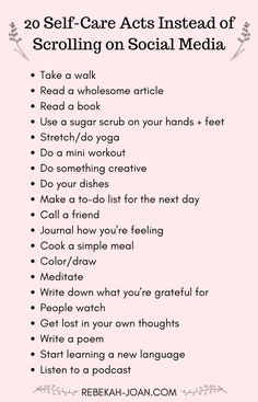 Social media can take a huge toll on our mental health. Stop playing the comparison game and get OFF of social media with these self-care habits that you can do instead. (Image with a list of 20 Self-Care Acts Instead of Scrolling on Social Media) health What To Do When Bored, Self Care Activities, Mental Health Activities, Wellness Activities, List Of Activities, Social Activities, Health Education, Self Improvement Tips, Self Care Routine