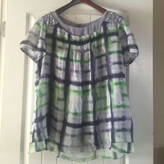 Olivia Lauren Blouse with Jeweled Shoulders Really nice lightly lined green and grey blouse with rhinestones and jewels on shoulders.  Really pretty top!! Olivia Lauren Tops Blouses