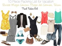 10 Piece Packing List for Vacation: Riviera Maya