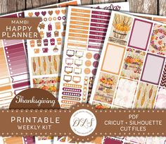 HAPPY PLANNER Weekly Sticker Kit Mambi Planner Thanksgiving Fall Autumn Corn Pumpkin Grape Leaves November Planner Autumn Colors HP106