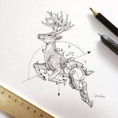 #dear #design #tattooideas #idea #geometric #animal #authorunknown #pencil #pen #math #geometry