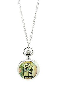 Free Birds Working Pocket Watch Pendant Necklace by Eye Candy Los Angeles on @HauteLook