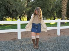 Cute outfit for fall or winter  Buttoned up skirt Boots Sweater Knee high socks