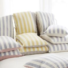 Riviera Linen Bedding $179-$229 The crisp stripes were inspired by the colorful beach canopies of the French Riviera. Duvet and sham reverse to a different stripe, in a different color, so you can change your look as easily as making the bed. Hand finished in 100% linen, so it will get softer with every wash.