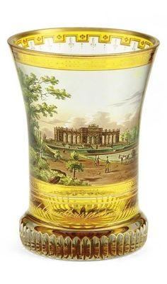 A transparent-enamelled beaker with view of Schönbrunn, Vienna, attributed to Anton Kothgasser, Vienna, circa 1820.
