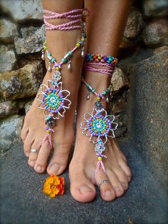 WEDDING BAREFOOT SANDALS sole less shoes Beach wedding Bridal sandals rainbow dance jewelry slave anklet foot jewelry bohemian shoes unique. $89.00, via Etsy.