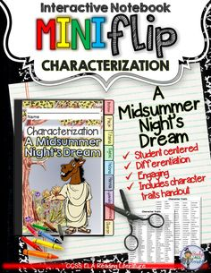 A Midsummer Night's Dream: Interactive Notebook Characterization Mini Flip ($)