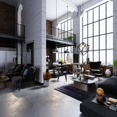 Nothing says effortless cool and easy maintenance than an industrial-style living room. Exposed brick walls greet black and white typographic prints, factory wi