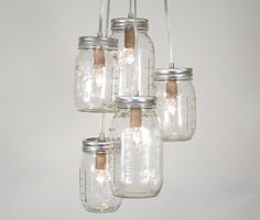 Mason Jar Cluster Chandelier