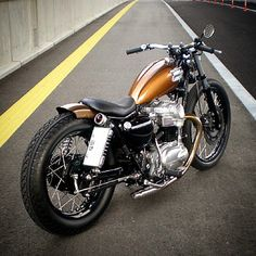 with a rear tyre. Gotta put a bobber in the garage soon. Motos Bobber, Bobber Bikes, Bobber Motorcycle, Bobber Chopper, Motorcycle Design, Scrambler, Softail Bobber, Girl Motorcycle, Motorcycle Quotes