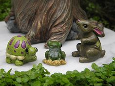 Miniature Dollhouse FAIRY GARDEN  Set  3 Fairytale Animals Turtle Frog Rabbit -- Visit the image link more details.(This is an Amazon affiliate link and I receive a commission for the sales) #GardeningGlovesProtectiveGear