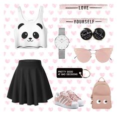 """""""pretty girly style"""" by kate07-1 ❤ liked on Polyvore featuring Daniel Wellington, So.Ya, Various Projects, adidas Originals and Anya Hindmarch"""