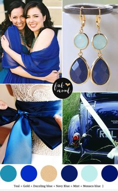 Shades of Blue   Mint   Teal   http://fabmood.com/navy-blue-and-mint-wedding-teal/