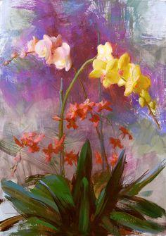 Artist: Susan Lyon - Title: Orchids for Sarah Paintings I Love, Beautiful Paintings, Pastel Paintings, Still Life Flowers, Fruit Art, Lyon, Art Images, Flower Art, Amazing Art