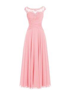 Dresstells Damen Lange Chiffon Ballkleider Brautjungfernkleider Abendkleider Champagner Größe 34