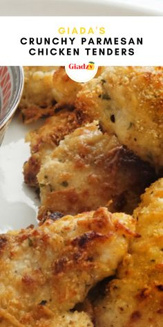 """For a delicious and totally kid-friendly weeknight dinner, you can't beat these crunchy parmesan chicken tenders. Marinating these chicken tenders in buttermilk gives them that quintessential """"fried"""" flavor and keeps them from drying out. Coating them in parmesan and breadcrumbs and quickly frying them in high heat gives them a super crunchy crust! Giada Recipes, Meat Recipes, Cooking Recipes, Chicken Tender Recipes, Chicken Wing Recipes, Food Dishes, Main Dishes, Parmesan Chicken Tenders, Dinners"""