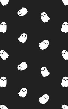 Every day is Halloween with the Little Ghosts wallpaper. This totally not ghoulish wallpaper design features cute cartoon ghosts floating around the room against a solid black background. Halloween Wallpaper Iphone, Goth Wallpaper, Holiday Wallpaper, Halloween Backgrounds, Fall Wallpaper, Iphone Background Wallpaper, Cute Wallpaper Backgrounds, Disney Wallpaper, Black Phone Background