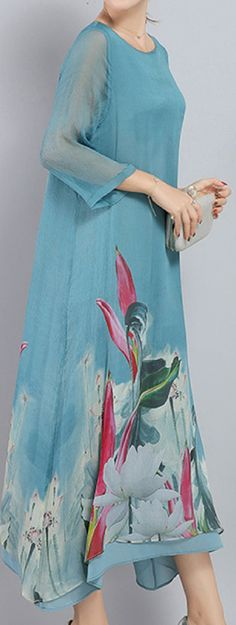 US$ 33.89 Vintage Printed Irregular Hem 3/4 Sleeve Women Mid-Long Dresses