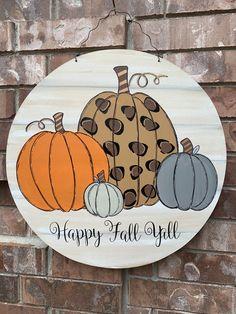 Fall Wooden Door Hangers, Football Door Hangers, Wooden Door Signs, Halloween Door Hangers, Thanksgiving Wood Crafts, Fall Crafts, Pumpkin Door Hanger, Fall Projects, Dollar Tree Crafts