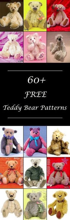 Lots of free stuffed teddy bear patterns to sew. Many jointed designs with templates. How to make a teddy bear, diy projects & tutorials, teddy bear sewing pattern. #teddybearpattern #teddybearpatterns #stuffedanimalpatterns