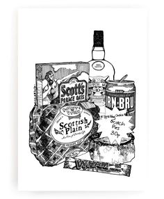 Gillian Kyle has created this black and white print to pay  homage to some of Scotland's best loved brands and favourite foods.  It will add  a wee touch of humour to your kitchen without sacrificing style and is the perfect gift for a new home too!