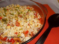 Cinco sentidos na cozinha: Arroz com atum, tomate, milho e ovo