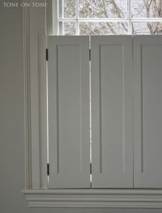 Tone on tone sharing paint colors and more white dove for Recessed panel shutters