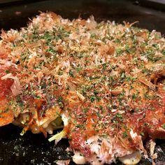 Okonomiyaki-Okonomiyaki is a Japanese savoury pancake containing a variety of ingredients.