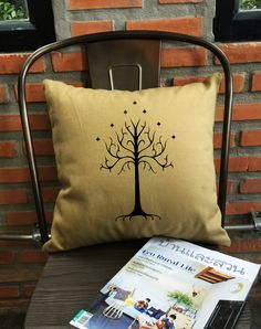 SALE  White tree of gondor throw pillow cover by Lessssismoreee