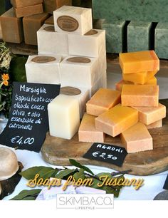handmade soaps from Tuscany, spotted at a market in Lucca, Italy.