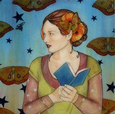 Women readers, books and natura / Lectoras, libros y naturaleza (ilustración de Mary Alayne Thomas)