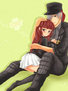 #BlueEyes, #Blush, #Couple, #GreyHair, #Hat, #Hug, #Jacket, #LongHair, #Pants, #RedHair, #ShortHair, #Skirt, #Thighhighs
