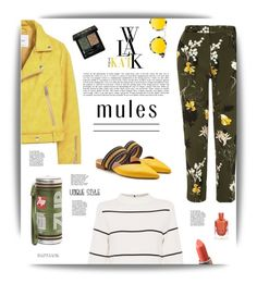 """""""Yellow Mules"""" by cara-mia-mon-cher ❤ liked on Polyvore featuring River Island, L.K.Bennett, MANGO, Krewe, Anya Hindmarch and Gucci"""